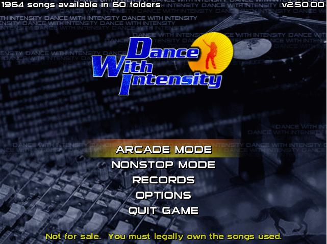 Dance With Intensity title screen